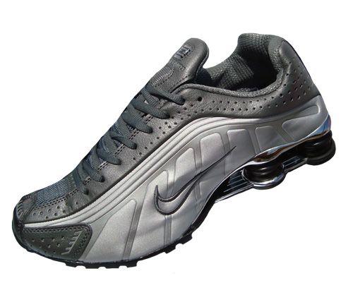 a5ea2e245 Nike Shox R4 Cromado Prata Grafite e preto MOD 037 - Moda Vca