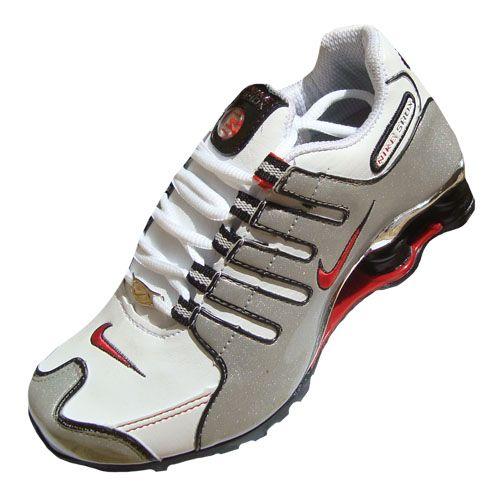 Nike Shox NZ Cromado Branco Prata e vermelho MOD 016 eee008bdd35c4