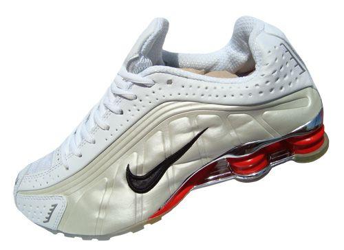 the latest 4a43b f3d2a Nike Shox Nike Shox R4 Cromado Creme Branco e vermelho MOD014 . ...